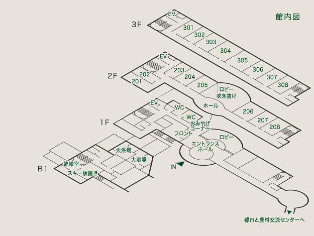 リゾートヴィラハチ北館内図
